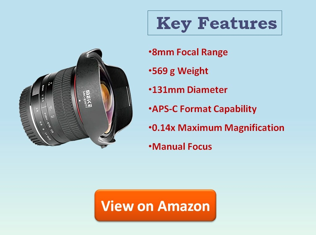 Meike 8mm f3.5 Fisheye Lens Ultra Wide Angle for Canon EF Mount cameras